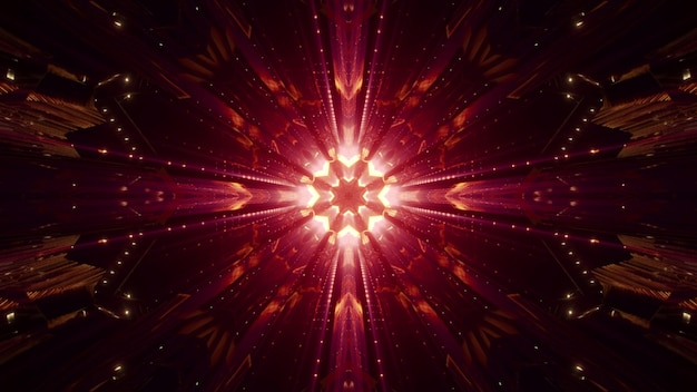 Abstract symmetrisch kristalornament dat met helder rood licht in duisternis gloeit