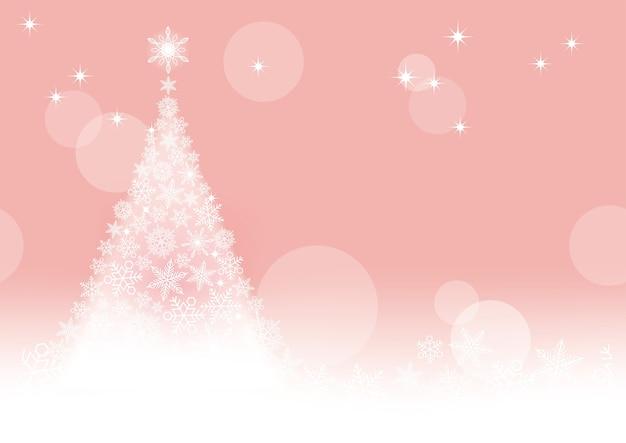 Abstract vector pink winter naadloze achtergrond met een kerstboom en sneeuwvlokken horizontaal herhaalbaar