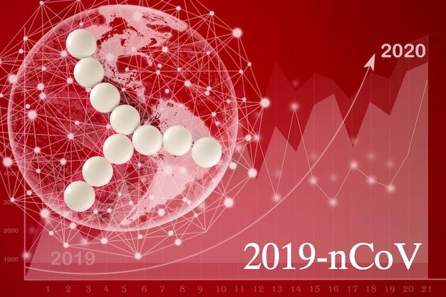 Abstract virusstammodel mers-cov of middle east respiratory syndrome coronavirus, novel coronavirus 2019-ncov met tekst op ren. wereldkaart coronavirus covid-19, virtuele hologramstatistieken, grafiek.