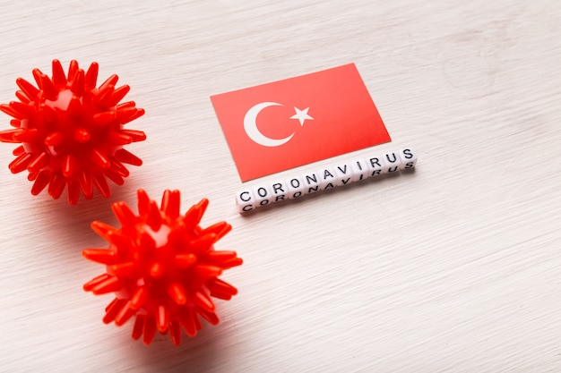 Abstract virusstammodel van 2019-ncov midden-oosten ademhalingssyndroom coronavirus of coronavirus covid-19 met tekst en vlag turkije op witte achtergrond.