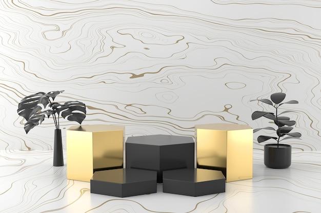 Abstract zwart en goud product stage platform 3d-rendering