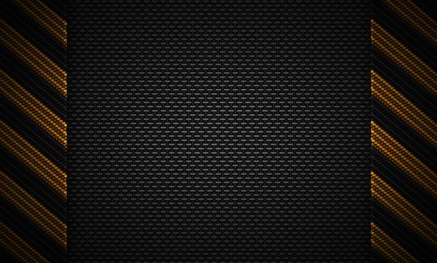Abstract zwart koolstof geweven materiaalontwerp met waarschuwingsband