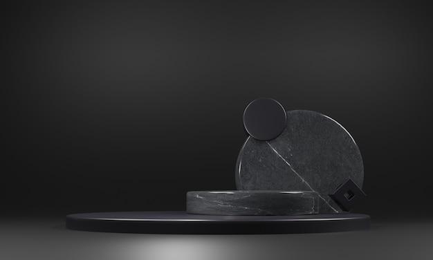 Abstract zwart marmeren voetstukmodel op zwarte achtergrond