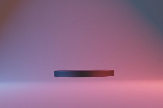 Abstract zwart podium met rood en blauw licht
