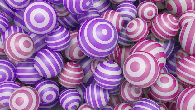 Abstracte 3d achtergrond met gekleurde ballen paars en roze. 3d-afbeelding.
