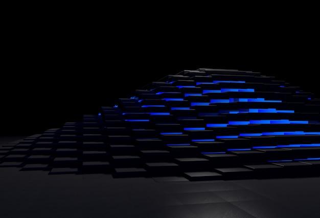 Abstracte 3d-achtergrond met zwarte stenen piramide die gloeit met blauw licht