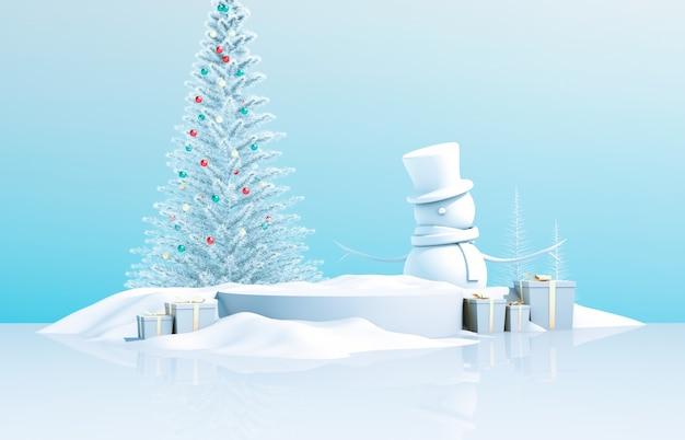 Abstracte 3d-compositie. winter kerst achtergrond met kerstboom, sneeuw man en geschenkdoos.