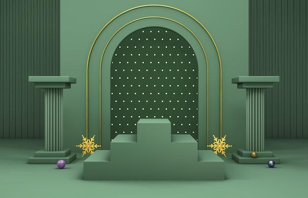 Abstracte 3d-compositie. winter kerst achtergrond voor productvertoning.