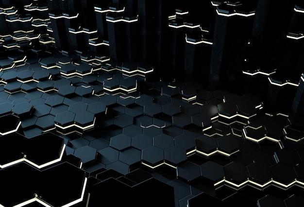 Abstracte 3d donkerblauwe zeshoekige achtergrond