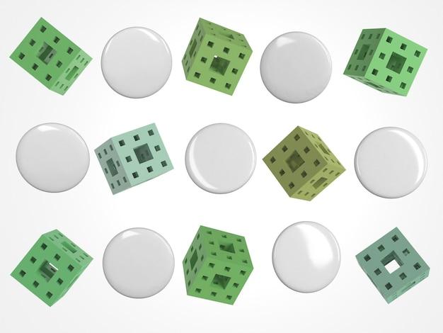 Abstracte 3d exemplaarruimte pinnen en vierkanten met gaten
