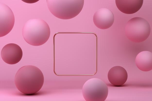 Abstracte 3d-gerenderde scène van roze bollen met kopie ruimte in een gouden vierkant.