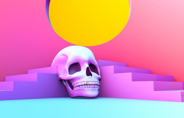 Abstracte 3d halloween-scène met treden en schedel.