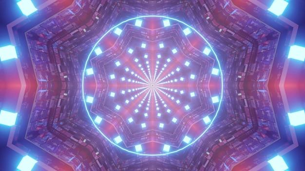 Abstracte 3d illustratie 4k uhd visuele achtergrond van futuristische ruimteschipgang met neonlichten die symmetrisch cirkelpatroon in de vlagkleuren van de vs creëren