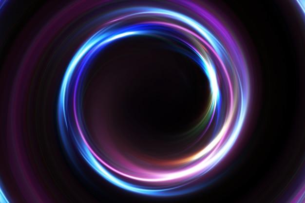Abstracte 3d illustratie neon achtergrond. lichtgevende wervelingen. gloeiende spiraalhoes. zwart elegant. halo rond. stroom geïsoleerd. vonken deeltje. ruimtetunnel. led-kleuren ellips. glint glitter