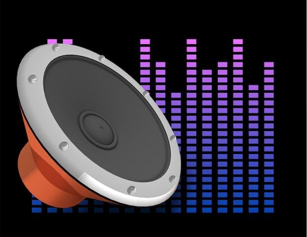 Abstracte 3d illustratie van donkere achtergrond met luidspreker en equalizer.