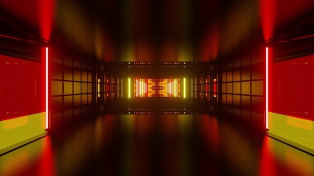 Abstracte 3d illustratie van symmetrische gang gevormd door geometrische vormen en duitse vlagkleuren lichten
