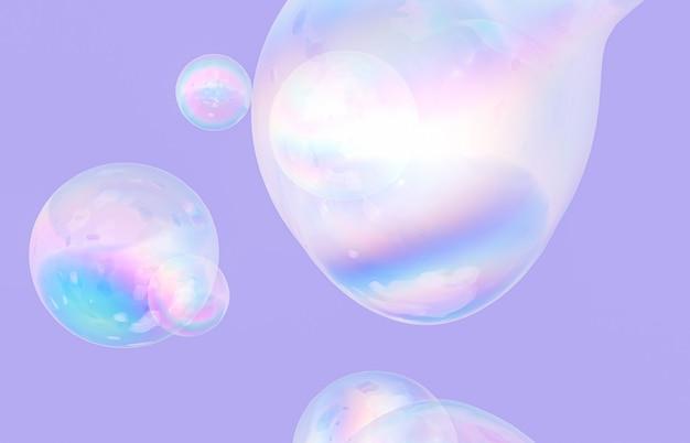 Abstracte 3d-kunst met holografische zwevende vloeibare zeepbellen