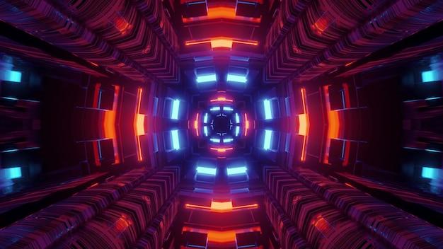 Abstracte 3d levendige futuristische illustratie van sci fi-tunnelperspectief met geometrische vormen en gloeiende rode en blauwe neonverlichting