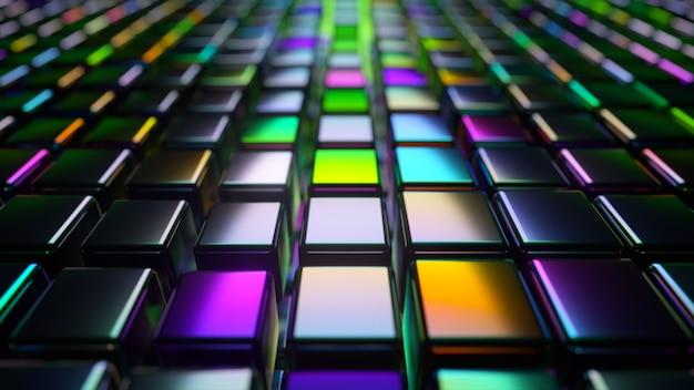 Abstracte 3d render met blokjes in neonlicht