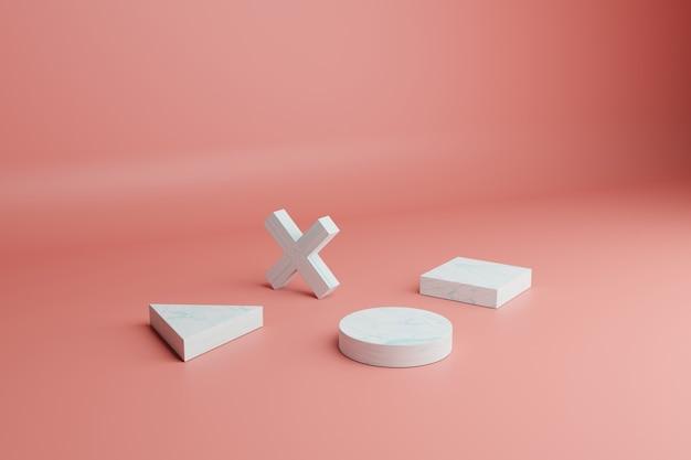 Abstracte 3d render minimale scène met witte geometrische vormen op een koraalachtergrond
