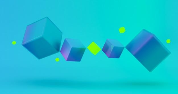Abstracte 3d render, moderne geometrische achtergrondontwerp, 3d-gradiënt kubus achtergrond.