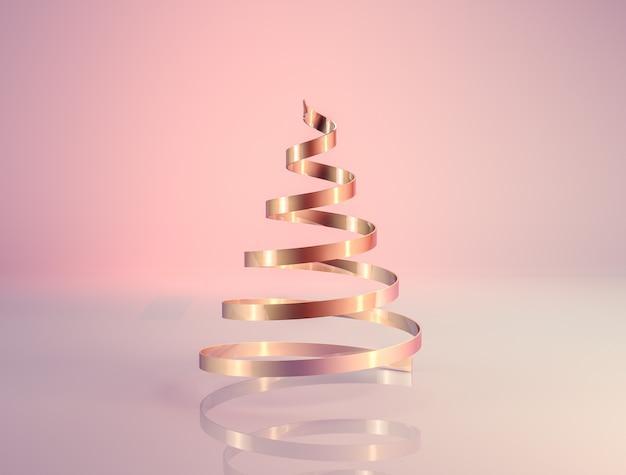 Abstracte 3d-rendering met rosé gouden luxe kerstboom.