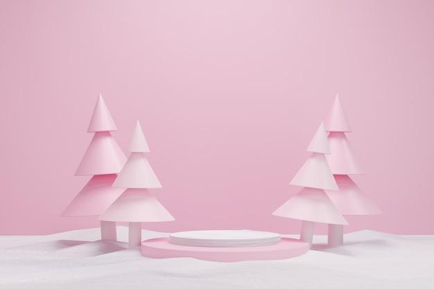 Abstracte 3d roze geometrische cirkel sokkel podium met kerstboom