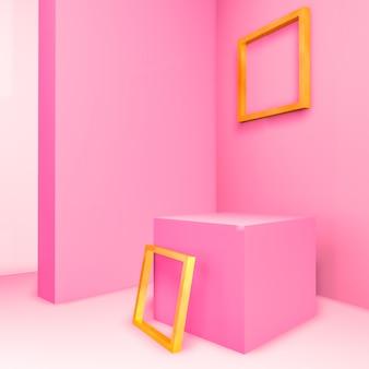 Abstracte 3d samenstelling. pastelkleurroze ruimte voor productvertoning met geometrisch 3d leeg gouden kader