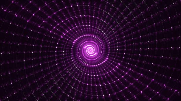 Abstracte 3d teruggevende spiraalvormige deeltjesachtergrond