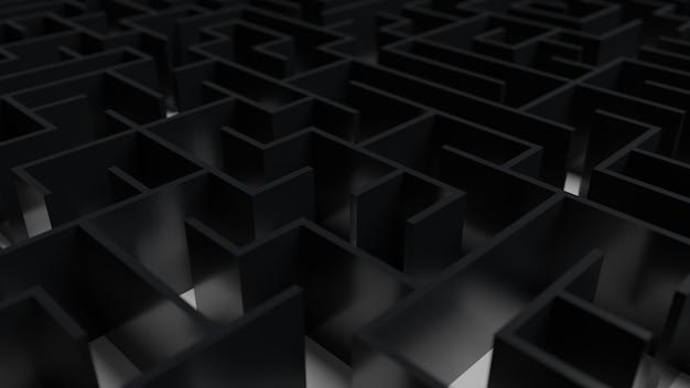 Abstracte 3d zwarte doolhof
