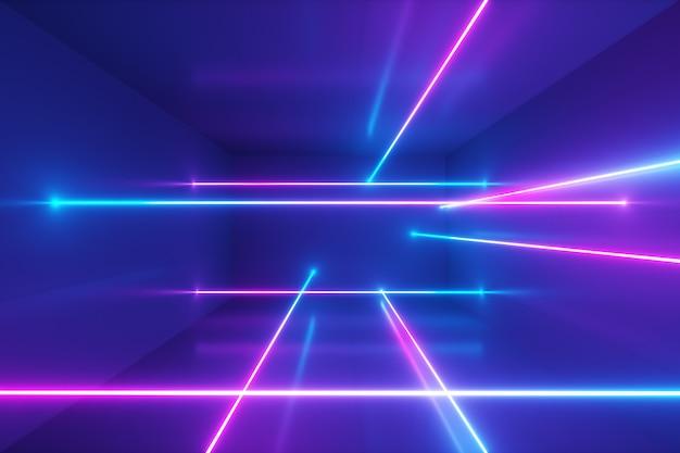 Abstracte achtergrond, bewegende neonstralen, lichtgevende lijnen in de kamer, fluorescerend ultraviolet licht, blauw rood roze violet spectrum, 3d illustratie