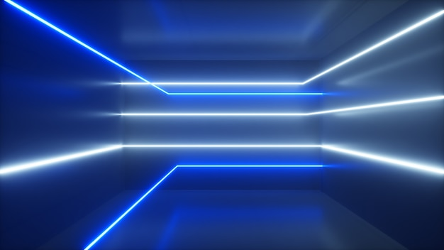 Abstracte achtergrond, bewegende neonstralen, lichtgevende lijnen in de kamer, fluorescerend ultraviolet licht, blauw wit spectrum, 3d illustratie