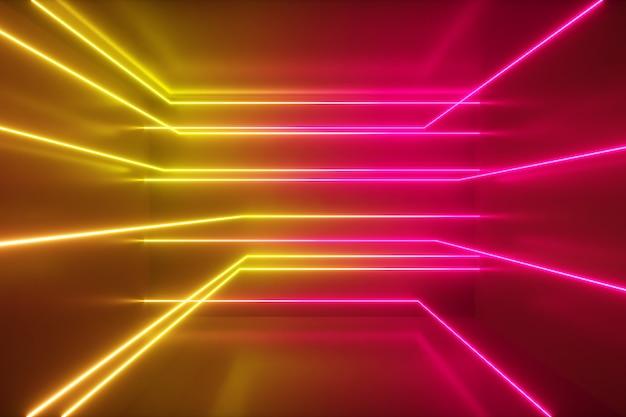 Abstracte achtergrond, bewegende neonstralen, lichtgevende lijnen in de kamer, fluorescerend ultraviolet licht, geel rood roze spectrum, 3d illustratie