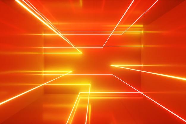 Abstracte achtergrond, bewegende neonstralen, lichtgevende lijnen in de kamer, fluorescerend ultraviolet licht, oranje spectrum, 3d illustratie