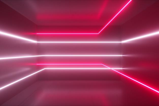 Abstracte achtergrond, bewegende neonstralen, lichtgevende lijnen in de kamer, fluorescerend ultraviolet licht, rood roze wit spectrum, 3d illustratie
