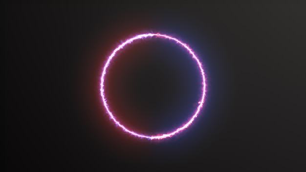 Abstracte achtergrond blauw rood spectrum fluorescerend licht met neon cirkel led animatie 3d-rendering