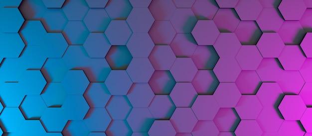 Abstracte achtergrond in de vorm van donkere zeshoeken in neonverlichting, 3d illustratie