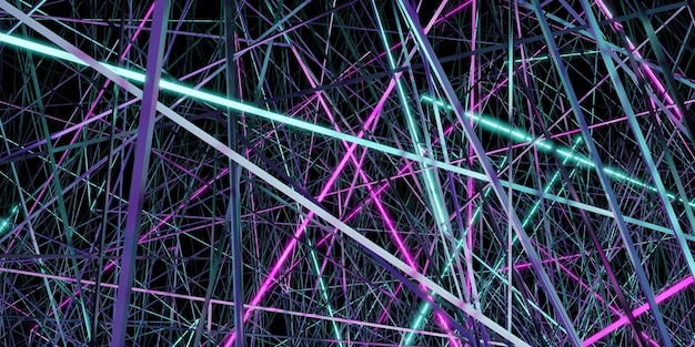 Abstracte achtergrond ingewikkelde contrasterende laserstralen 3d illustratie