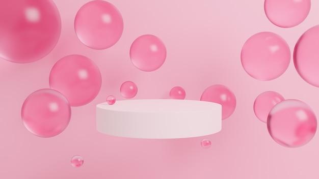 Abstracte achtergrond met 3d-bollen, zacht roze, podium, geometrisch. 3d-weergave