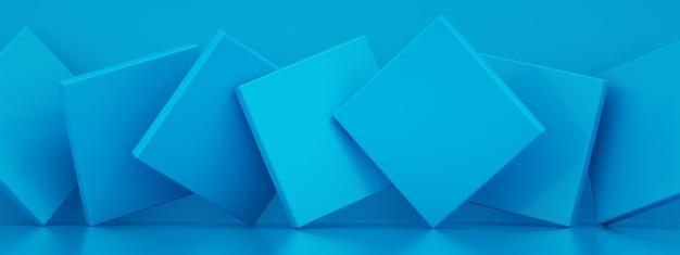Abstracte achtergrond met blauwe papieren geometrische vormen, 3d-rendering, panoramisch beeld
