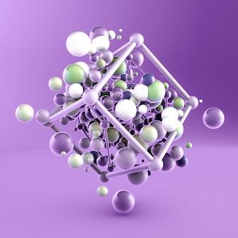 Abstracte achtergrond met elementen. 3d-afbeelding, 3d-rendering.
