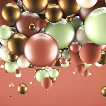 Abstracte achtergrond met elementen. 3d illustratie, 3d-rendering. Premium Foto