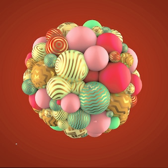 Abstracte achtergrond met elementen. 3d illustratie, 3d-rendering.