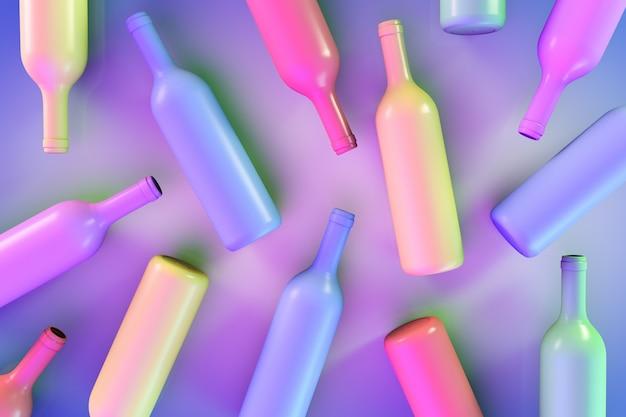 Abstracte achtergrond met gekleurde wijnflessen. de flessen zijn willekeurig gerangschikt