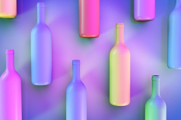 Abstracte achtergrond met gekleurde wijnflessen