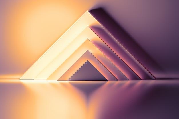 Abstracte achtergrond met gele en roze driehoekige vormen verlicht door licht op het glanzende reflecterende oppervlak. ruimte in de ruimte met piramides van geometrische primitieve vormen.