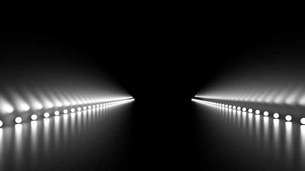 Abstracte achtergrond met gloed en weg. 3d-afbeelding, 3d-rendering.