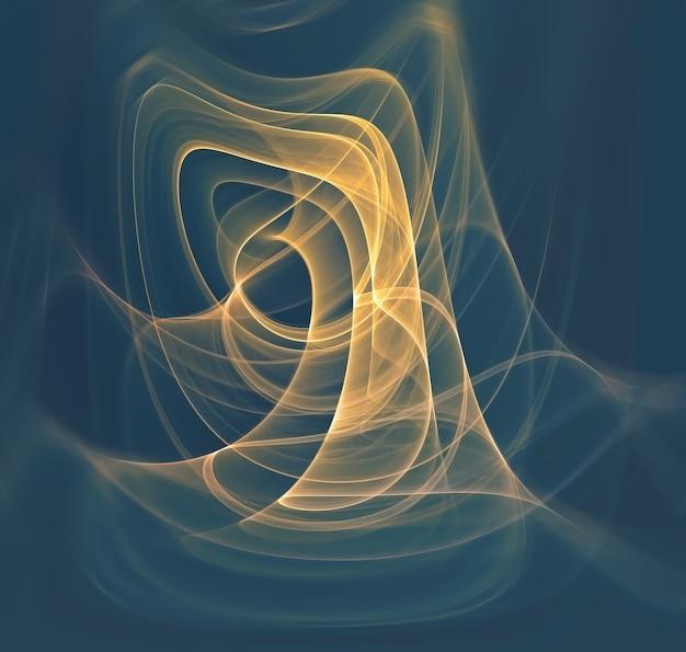 Abstracte achtergrond met gloeiende gele fractal lijnen