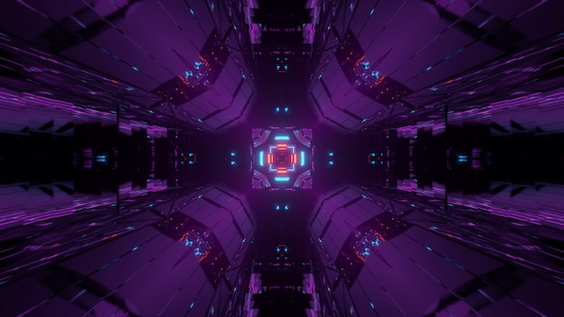 Abstracte achtergrond met kleurrijke gloeiende neonlichten, een 3d-weergave