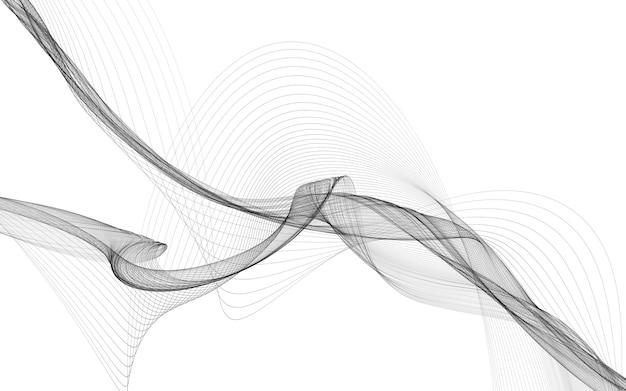 Abstracte achtergrond met monochrome golflijnen op witte achtergrond. moderne technische achtergrond.